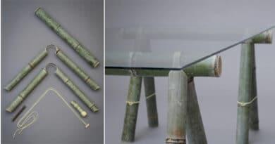 , Estos muebles de bambú se pueden ensamblar sin necesidad de usar herramientas.
