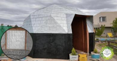 , Argentino Construyó un Domo reciclando cientos de tetra brick y réstos de cerámicos