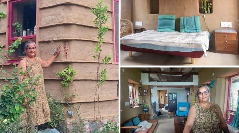 , Mujer de 54 años construyó la casa ecológica de sus sueños con barro, piedra y madera