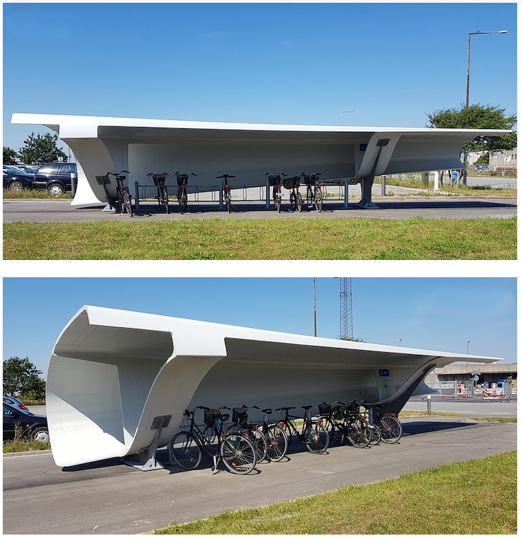 Dinamarca está reutilizando palas de aerogeneradores viejos como parking de bicicletas